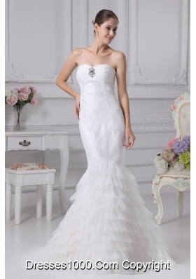 Sweetheart Ruffled Layers Mermaid Wedding Gowns with Ruching and Beading