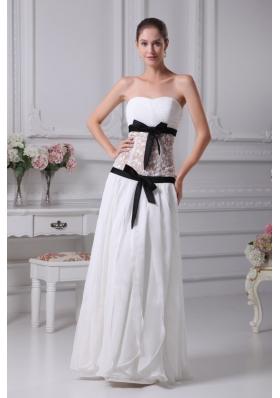 2013 Black Sashes Sweetheart Sheer lace Chiffon Bridal Gown