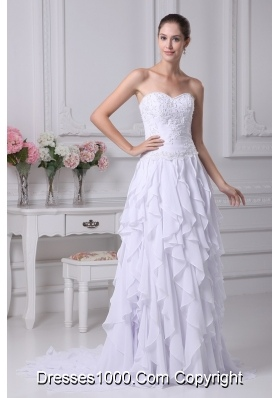 2013 New Sweetheart Ruffles Appliques Bridal Gown with Chiffon