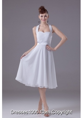 A-line Halter Top Tiers Chiffon Wedding Dresses with Satin Ribbon