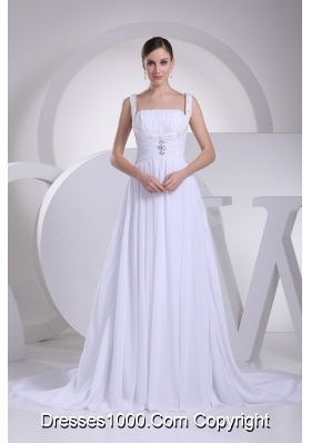 A-line Straps Ruching and Beading Bridal Dress with Chapel Train