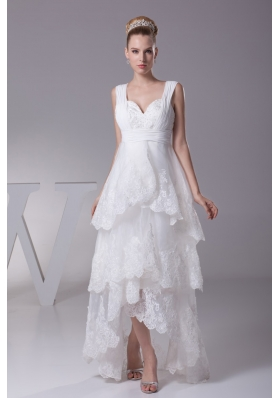 A-line Sweetheart Nackline Ruffled Layers Embroidery Wedding Dress