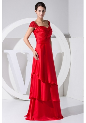Applique Cap Sleeves Ruched Sweetheart Red Prom Dresses with Layers