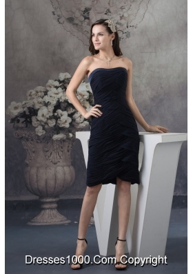 Brand New Strapless Ruched Black Prom Dress Knee-length