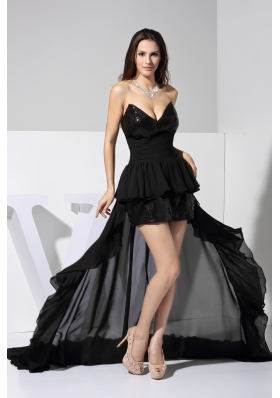 Chiffon and Sequin V-neck High Low Prom Gown with Ruched Sash