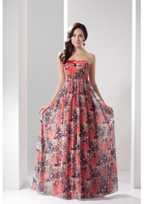 Colorful Strapless Empire Full Length Flowers Pringting Prom Dresses