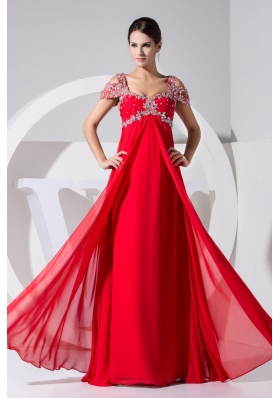 Diamonds Decorated Straps Cap Sleeves Prom Gowns in Red