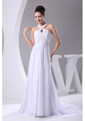Empire Halter Top Beading and Ruching Chiffon Wedding Dress