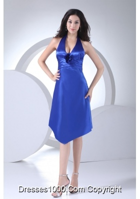 Hot Sale Blue Satin Halter Top Knee-length Prom Dress for Ladies