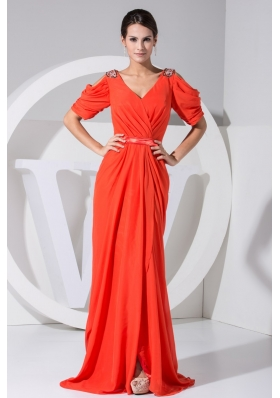 Jeweled Open Sleeves Coral Red Prom Dresses with Slit