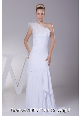 Luxurious Column One Shoulder Feather Chiffon Bridal Gowns