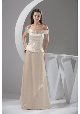 Off-the-shoulder Ivory Prom Dresses For Weddings with Beading