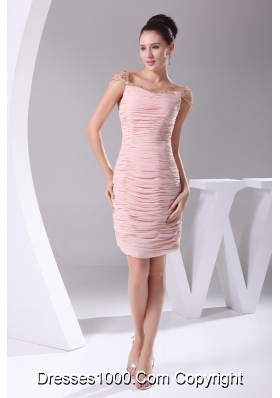 Pink Ruched Beaded Knee-length Prom Dress Square Neckline