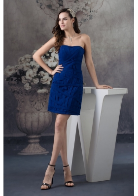 Recommended Blue Strapless Mini-length Prom Evening Prom Dress