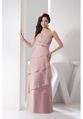 Ruching Layers Strapless Floor-length Prom Gown with Beadings