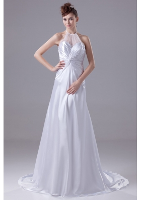 Ruching Sweep Train Wedding Dresses with Transparent Halter Neckline