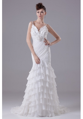 Ruffled Layers and Handle Flowers Brush Train Spaghetti Straps Wedding Dresses