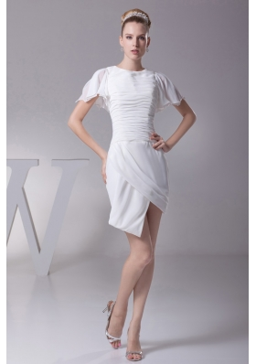 Scoop Short Sleeves Short Wedding Dress with Ruching for Cheap