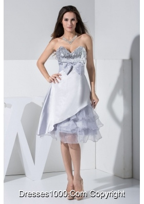 Sequined Sweetheart Bowknot and Ruffled Layers Prom Dresses