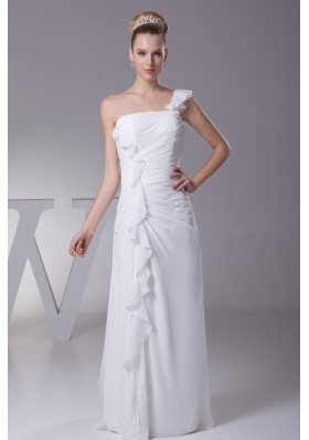 Sheath One Shoulder Ruching Floor-length Wedding Gowns For 2013