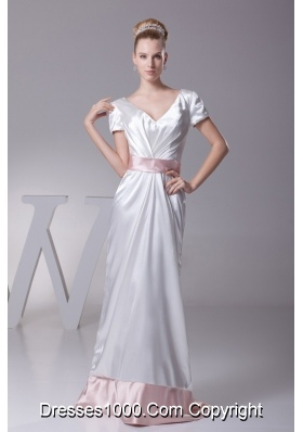 Short Sleeves V-neck Wedding Dress in White with Pink Sash and Brush Train