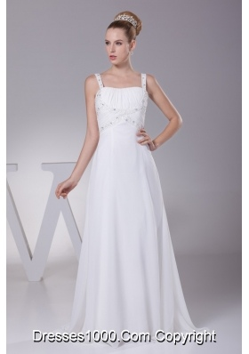 Straps Brush Train Wedding Dress in White Decorated with Beading and Ruching