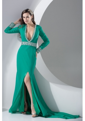 Turquoise Plunging V-neck Beaded Court Train Prom Dress with Slit