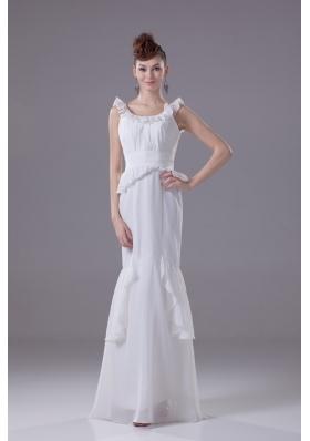 Waist-defining Peplum Ruffled Scoop Trumpet Wedding Dresses in White