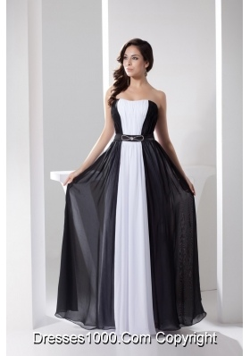 White and Black Strapless Long Prom Gowns with Beading Belt