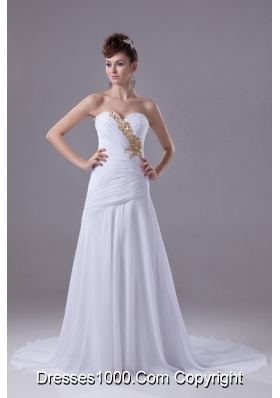 White Sweetheart Sweep Train Wedding Dress with Ruche and Beaded Embroidery