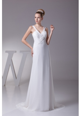 Wide Straps V-neck Brush Train Wedding Dresses with Ruching and Beading