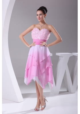 Asymmetrical Hemline Sweetheart Rose Pink Prom Dress for Ladies