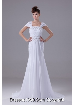 Beaded and Appliqued Square Brush Train Wedding Gown with Cap Sleeves