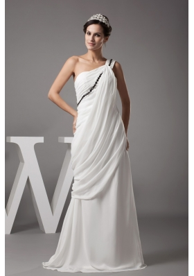 Beading and Ruching Single Shoulder Back Out Bridal Gowns in White