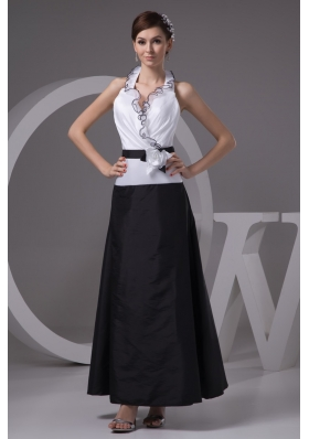Black and White Ankle-length Halter Top Prom Dress with Handmade Flower