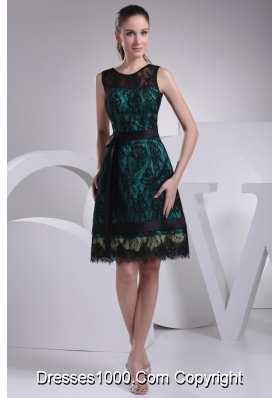 Black Lace Covered Teal Satin Prom Dress with Sash and Bow