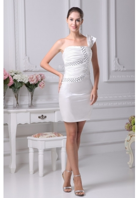 Cream Colored Beaded Ruched Short One Shoulder Prom Dress
