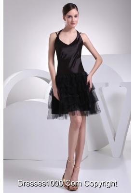 Customer Made Tulle Satin Straps Black Mini-length Prom Dress