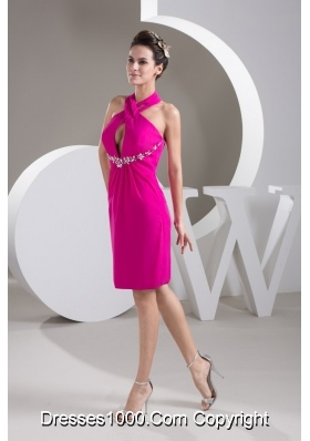 Cutout Halter Top Cool Back Short Beading Prom Dress in Fuchsia