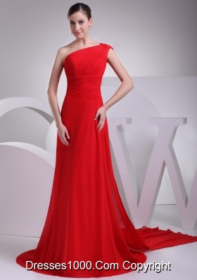 Cutout One Shoulder Ruching Watteau Train Prom Dresses in Red