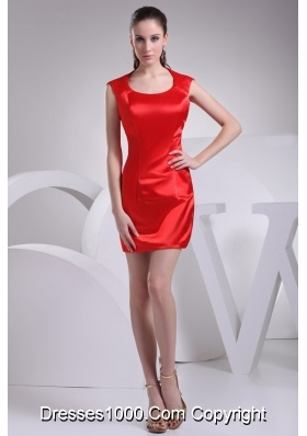 Elegant Mini-length Sheath Prom Dress in Red with Scoop Neckline