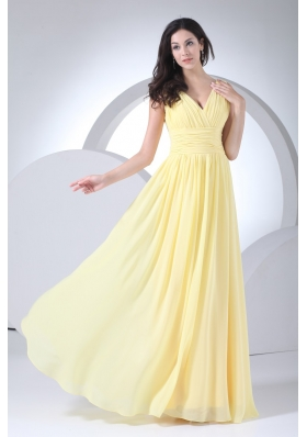 Empire V-neck Floor-length Ruched Yellow Chiffon Prom Dress