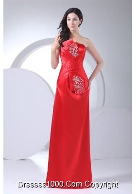 Floor-length Strapless Ruched Beaded Prom Dress in Red Fast Shipping