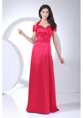 Halter Top Ruched Cap Sleeve Prom Dress for Women in Red