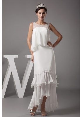 High Low Ruffled Layers Bridal Gowns with Sheer Beaded Scoop Neckline