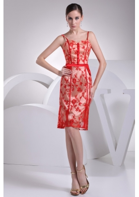 Knee-length Red Floral Lace Covered Prom Dress with Straps