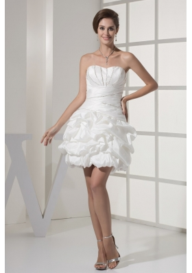 Mini-length Sweetheart Bodice Bridal Gown with Pick-ups and Beadings