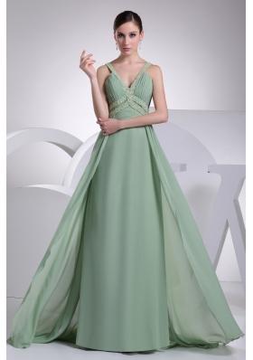 Modest Green Beaded V-neck Floor-length Empire Prom Dresses