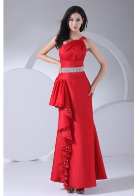 One Shoulder Ruched Beaded Ankle-length Red Prom Dress for Girls
