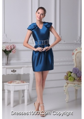 Puffy Cap Sleeves V-neck Prom Dresses with Beaded Bow Belt